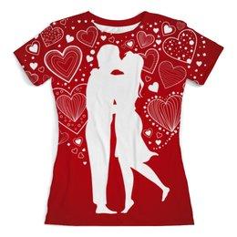 """Футболка с полной запечаткой (женская) """"Объятия"""" - праздник, любовь, поцелуи, обнимашки, объятия"""