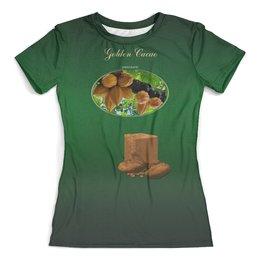 """Футболка с полной запечаткой (женская) """"Golden Cacao"""" - юмор, счастье, chocolate, golden life, шоколад"""