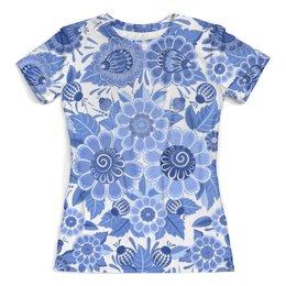 """Футболка с полной запечаткой (женская) """"Blue Ornaments Floral"""" - флора, орнамент, гжель, цветы, арт дизайн"""