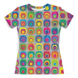 """Футболка с полной запечаткой (женская) """"Abstract styles"""" - абстракция, геометрические фигуры, стиль, круги, лето"""