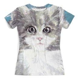 """Футболка с полной запечаткой (женская) """"Взгляд кошки"""" - кот, кошка, взгляд, подарок, зверь"""