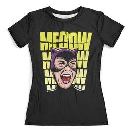 """Футболка с полной запечаткой (женская) """"Женщина-кошка"""" - женщина-кошка, catwoman"""