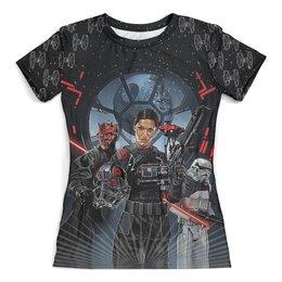 """Футболка с полной запечаткой (женская) """"Star Wars Design"""" - star wars, звездные войны, дарт мол, фантастика, звезда смерти"""