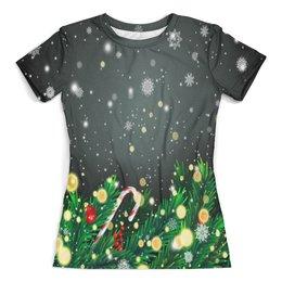 """Футболка с полной запечаткой (женская) """"Падающий снег"""" - новый год, игрушки, подарки, снежинки, елка"""