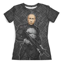 """Футболка с полной запечаткой (женская) """"PUTISHER (Putin)"""" - россия, путин, президент, фрэнк касл, киноману"""