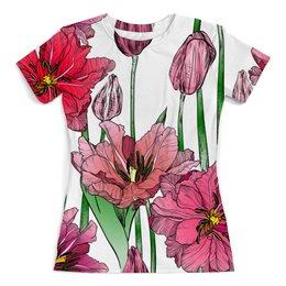 """Футболка с полной запечаткой (женская) """"Маки в цвету"""" - цветы, узор, весна, природа, цветочки"""