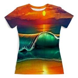 """Футболка с полной запечаткой (женская) """"Закат"""" - море, природа, закат, пейзаж, песок"""