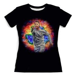 """Футболка с полной запечаткой (женская) """"Cristiano Ronaldo"""" - футбол, женщине, футболист, криштиану роналду, чемпионат"""