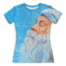 """Футболка с полной запечаткой (женская) """"Сон мудреца"""" - голубой, восток, мудрость, медитация, эзотерика"""