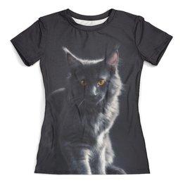 """Футболка с полной запечаткой (женская) """"Мейн кун"""" - кот, кошка, котенок, животные, мейн кун"""
