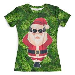 """Футболка с полной запечаткой (женская) """"SantaMusic"""" - музыка, новый год, дед мороз, санта клаус, елка"""
