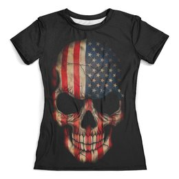 """Футболка с полной запечаткой (женская) """"Череп/Флаг США"""" - америка, череп, флаг, skull, usa"""