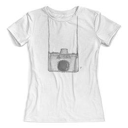 """Футболка с полной запечаткой (женская) """"Фотоаппарат"""" - фотоаппарат, прикол, фото, фотографу, любимой"""