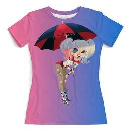 """Футболка с полной запечаткой (женская) """"Harley Quinn"""" - юмор, харли квинн, dc комиксы, арт дизайн, с зонтом"""