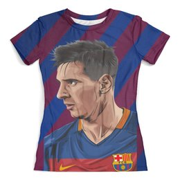 """Футболка с полной запечаткой (женская) """"Lionel  Messi (1)"""" - футбол, спорт, лионель месси, фк барселона"""