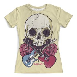 """Футболка с полной запечаткой (женская) """"Rock in Rio - фестиваль рок музыки"""" - heavy metal, рок музыка, skull, хеви метал, череп"""