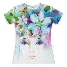 """Футболка с полной запечаткой (женская) """"Цветы"""" - арт, бабочка, девушка, цветы, весна"""