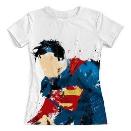 """Футболка с полной запечаткой (женская) """"Супермен"""" - арт, стиль, супергерои, бэтмен, человек из стали"""