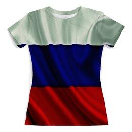 """Футболка с полной запечаткой (женская) """"Триколор"""" - русский, страна, я русский, 3d, отечество"""