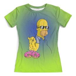 """Футболка с полной запечаткой (женская) """"The Simpsons"""" - юмор, пончики, симпсон гомер"""