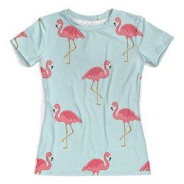 """Футболка с полной запечаткой (женская) """"Розовый фламинго"""" - стиль, мода, птички"""