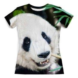 """Футболка с полной запечаткой (женская) """"Panda Vegan"""" - панда, веган, vegan, go vegan"""