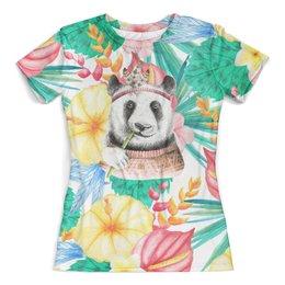 """Футболка с полной запечаткой (женская) """"Панда в цветах"""" - цветы, животные, тропики, трава, панда"""