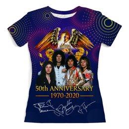 """Футболка с полной запечаткой (женская) """"Queen 50th Anniversary 1970-2020"""" - музыка, фредди меркьюри, куин, меломану, юбилей группы"""