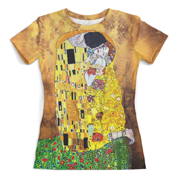 """Футболка с полной запечаткой (женская) """"Поцелуй(Gustav Klimt) (1)"""" - любовь, поцелуй, густав климт, модерн, эротизм"""