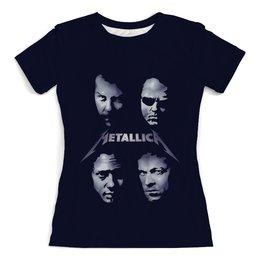 """Футболка с полной запечаткой (женская) """"Metallica"""" - музыка, рок, heavy metal, metallica, металлика"""