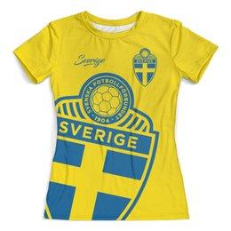 """Футболка с полной запечаткой (женская) """"Сборная Швеции"""" - футбол, швеция, футбол 2018, футбольные команды, сборная швеции"""