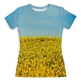 """Футболка с полной запечаткой (женская) """"Полевые цветы"""" - растение, весна, природа, цветочки, поле"""