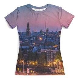 """Футболка с полной запечаткой (женская) """"Закат в Амстердаме"""" - амстердам, закат, город, страны, арт"""