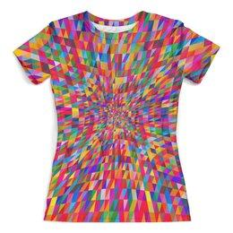 """Футболка с полной запечаткой (женская) """"Абстракция треугольники"""" - графика, краски, абстракция, цветные, треугольники"""