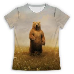 """Футболка с полной запечаткой (Женская) """"медведь"""" - медведь, россия"""