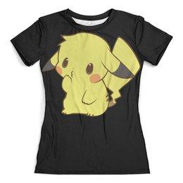 """Футболка с полной запечаткой (женская) """"Pikachu / Пикачу"""" - покемон, пикачу, pikachu, покебол, чермандер"""