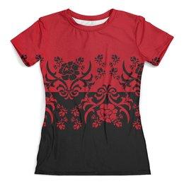 """Футболка с полной запечаткой (женская) """"Красно-черный"""" - цветы, узор, черный, красный, орнамент"""