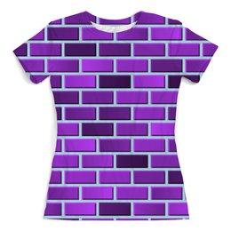 """Футболка с полной запечаткой (женская) """"Пурпурные кирпичи"""" - кирпич, геометрический, градиент, пурпурный"""