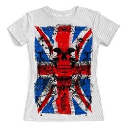 """Футболка с полной запечаткой (женская) """"BritishSkull"""" - череп, жене, лондон, флаг, великобритания"""