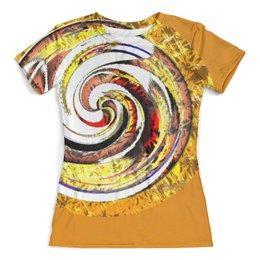 """Футболка с полной запечаткой (женская) """"Золотая спираль. Абстракция"""" - круг, спираль, разноцветный, оригинальный, паттерн"""
