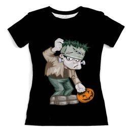 """Футболка с полной запечаткой (женская) """"Чудовище Франкенштейна"""" - хэллоуин, зомби, монстр, тыква, франкенштейн"""