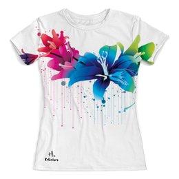 """Футболка с полной запечаткой (женская) """"Цветы"""" - цветы, рисунок, print, koleda17, футболкаспринтом"""