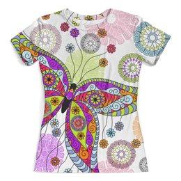 """Футболка с полной запечаткой (женская) """"Бабочки"""" - бабочки, бабочка, насекомые, узор, крылья"""