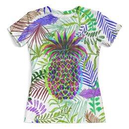 """Футболка с полной запечаткой (женская) """"Flora Design (Ananas)"""" - ананас, абстракция, арт дизайн, цветы, флора"""