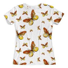 """Футболка с полной запечаткой (женская) """"Бабочки"""" - бабочка, бабочки, крылья, полет, насекомые"""