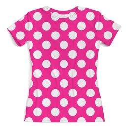"""Футболка с полной запечаткой (женская) """"Белый горох"""" - стиль, дизайн, розовый, горох"""