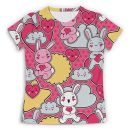 """Футболка с полной запечаткой (Женская) """"Зайцы аниме"""" - аниме, заяц аниме, кролик аниме, облако аниме"""