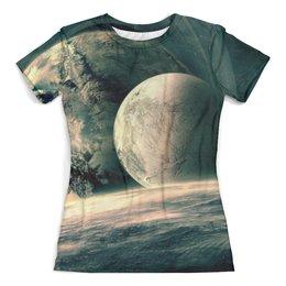 """Футболка с полной запечаткой (женская) """"Космическое путешествие"""" - космос, звезды, вселенная, одежда космос"""