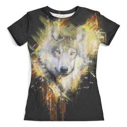 """Футболка с полной запечаткой (женская) """"Мордочка волка"""" - хищник, животные, собака, природа, волк"""
