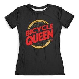 """Футболка с полной запечаткой (женская) """"Велосипедная  королева"""" - велосипед, велосипедная королева, бургер кинг"""